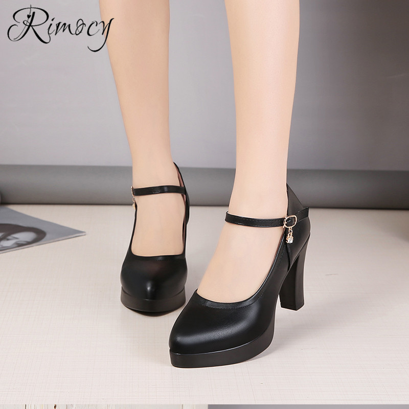 Rimocy high heels platform pumps mujer 2019 spring new fashion buckle solid black shoes woman PU leather waterproof shoes femme