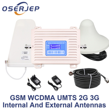 LCD Display GSM 900 UMTS 2100mhz Dual Band Repeater GSM 2G 3G LTE Phone Amplifier Cellular Mobile Booster +LPDA /Ceiling Antenna