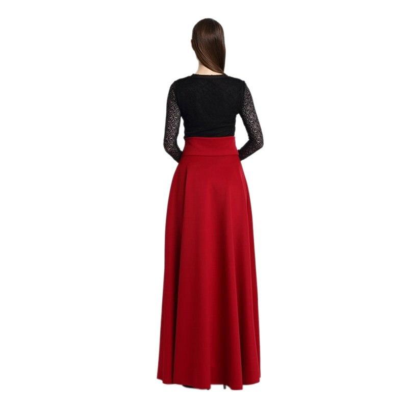 Nueva moda mujer algodón falda de alta cintura larga Maxi tramo ...