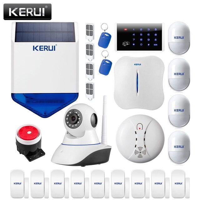 Amazing Intelligent Wireless KERUI WiFi PSTN Home Burglar Alarm System+Wireless IP  Camera+solar Siren