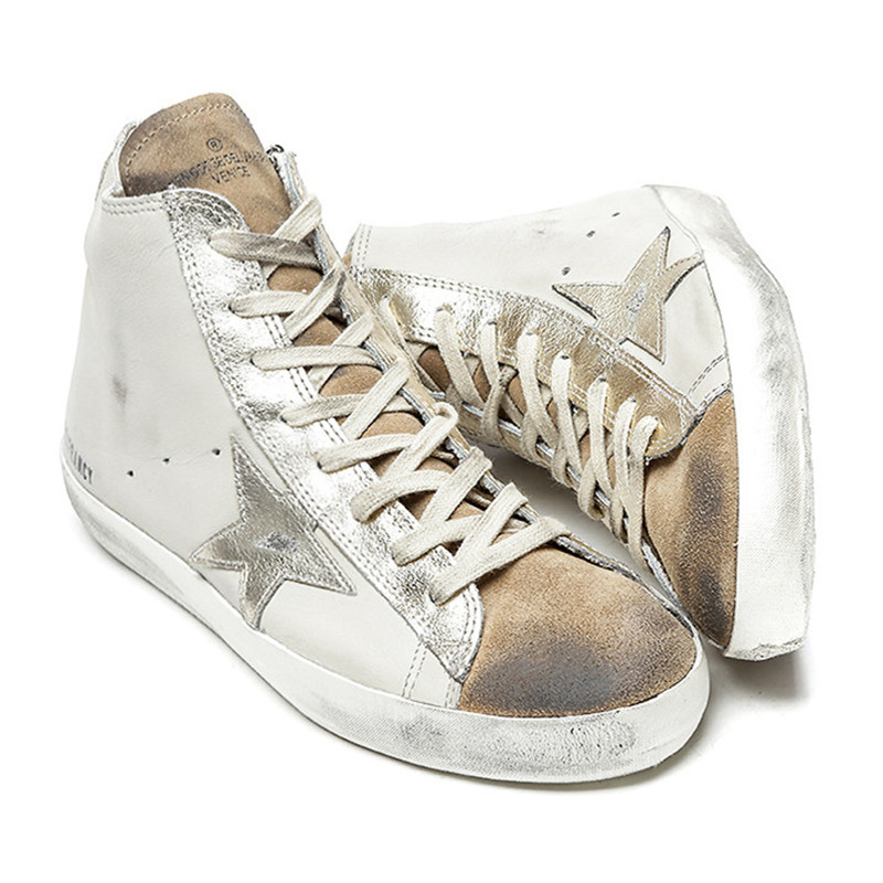Italy Original High Deluxe Golden Shoes White Women Men Spring Autumn Oro Genuine Leather Casual Goose Shoes Scarpe Brand Zapato фото