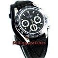 39 мм PARNIS черный циферблат сапфир cermaic Безель полный хронограф кварцевые мужские часы