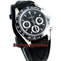 Cermaic 39 milímetros PARNIS mostrador preto safira moldura completa Chronograph quartz mens watch