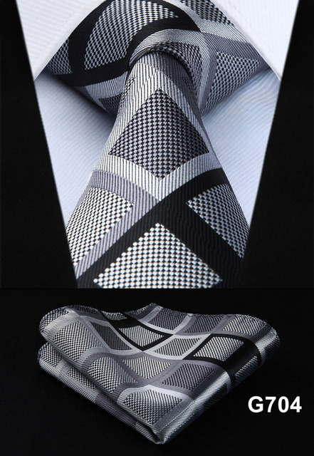 "Polka Dot Check Plaid Floral 3.4"" Silk Jacquard Party Wedding Woven Men Tie Fashion Designers Necktie Handkerchief Set #G7  2"
