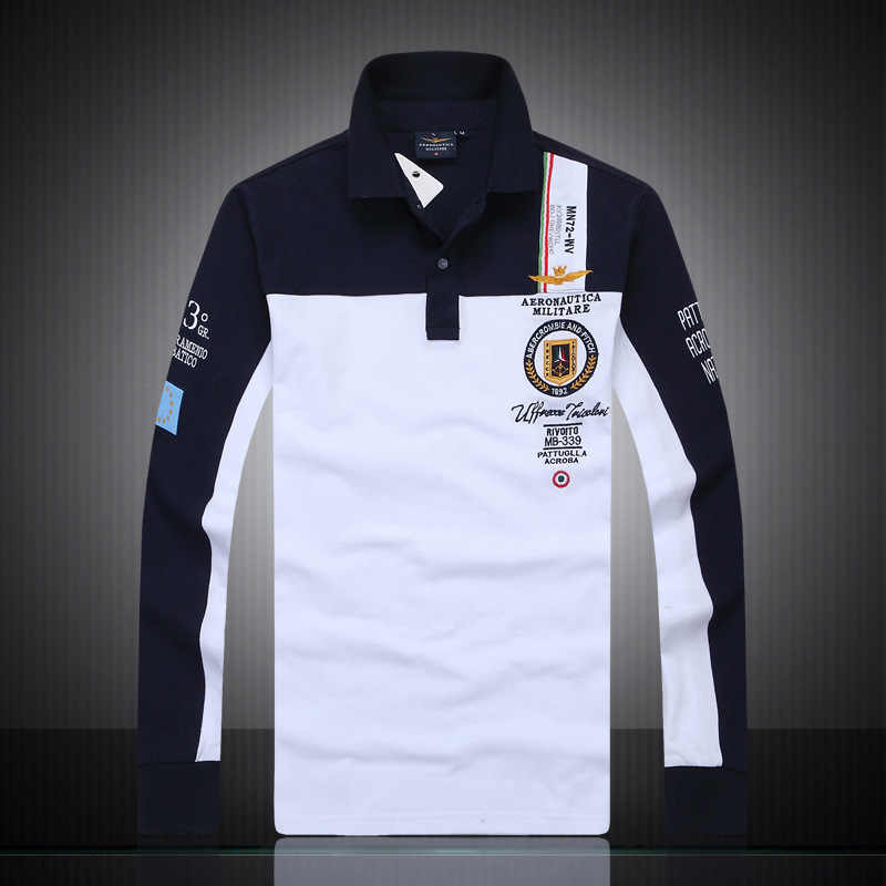58dc7cf2f9 new men's boutique embroidery Aeronautica Militare 100% cotton polo shirt  lapel Men's Air Force One