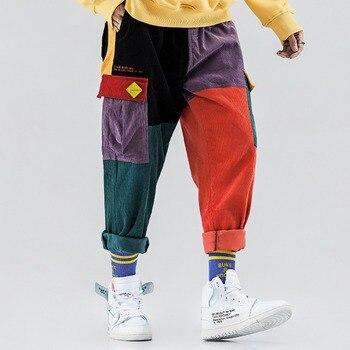 Corduroy Casual Pants Men Colorful Harem Joggers Fashion Harajuku Sweatpants Hip Hop Streetwear Male Trousers 2019 New Design Ma
