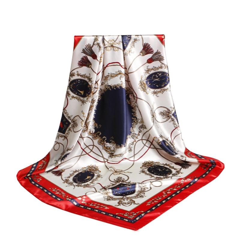 Női sál selyem 90cmX90cm luxus márka Pink Leopard Hijab sál - Ruházati kiegészítők