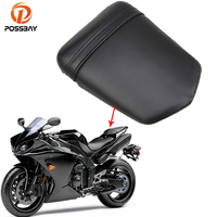 POSSBAY PU Leather Motorcycle Seats Rear Passenger Backrest Cushion Pad Seat Cover Cafe Racer Seats For Yamaha R1 2004 2005 2006