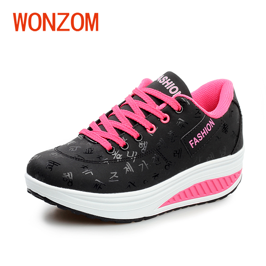 WONZOM Women Height Increasing Casual Shoes Breathable Fashion Waterproof Wedges Platform Shoes Stability New Arrival 35