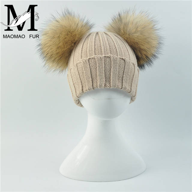 Online Shop Winter Baby Knit Hat With Two Fur Pompoms Boy Girls Natural Fur  Ball Beanie Kids Caps Double Real Fur Pom Pom Hat for Children  118ade31286c