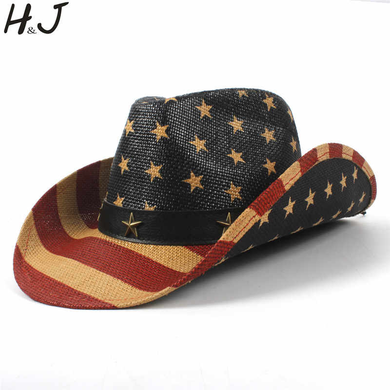 637d99d0 Child Straw Cowboy Hat USA American Flag For Boy Girl Western Sombrero  Hombre Cowgirl Caps 52