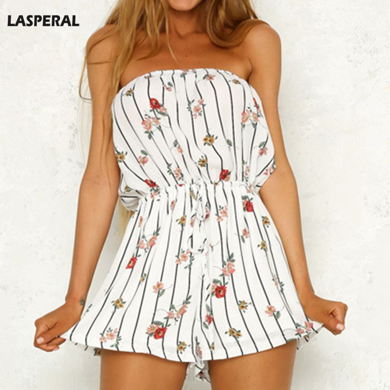 LASPERAL Fashion Jumpsuit Summer Beach Clothes Sexy Off Shoulder Floral Print Rompers Womens Jumpsuit High Street Playsuit Lady