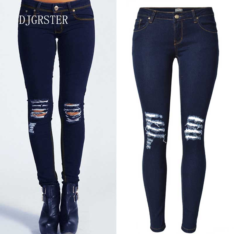 DJGRSTER 2017 New Ripped Jeans for Women Hollow Out Jeans Femme Skinny Butt Lifting Pencil Jeans