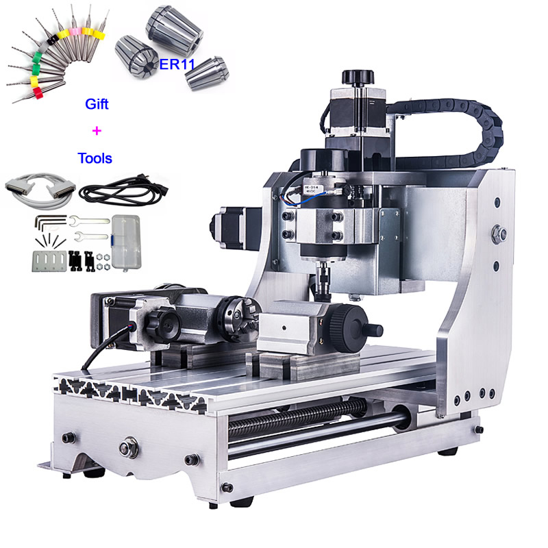 4 Axis Mini CNC Router Engraver 3020 300W 3D Woodworking Machinery