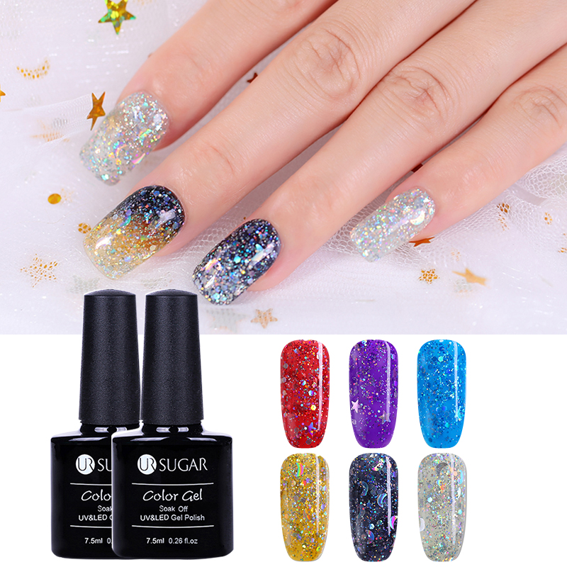 UR SUGAR 1 Bottle 7.5ml Star Moon Sequins Gel Holographic Glitter Flakies  Soak Off Nail Art  UV Gel Polish