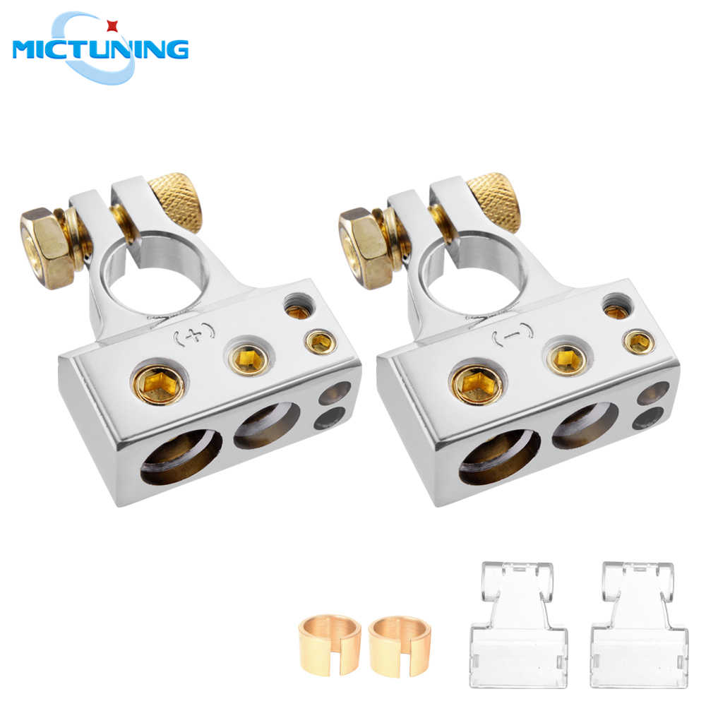 ZHITING 2pcs Battery Terminal Connector Kit 1//0 Gauge AWG Positive Negative Battery Post Clamp with Special Tools for Car Caravan Marine Boat 6