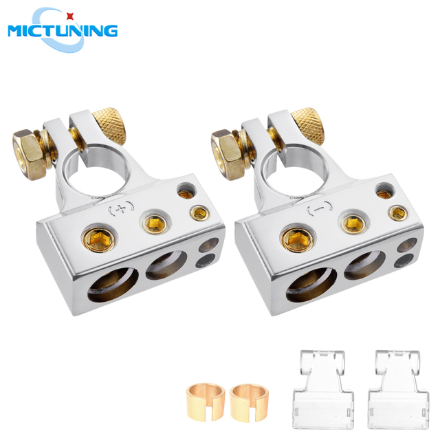 MICTUNING 2pcs Car Battery Terminal Connectors Kit 2/4/8/10 AWG Positive Negative Car Battery Post Clamp w/ 2 Clear Covers Shims
