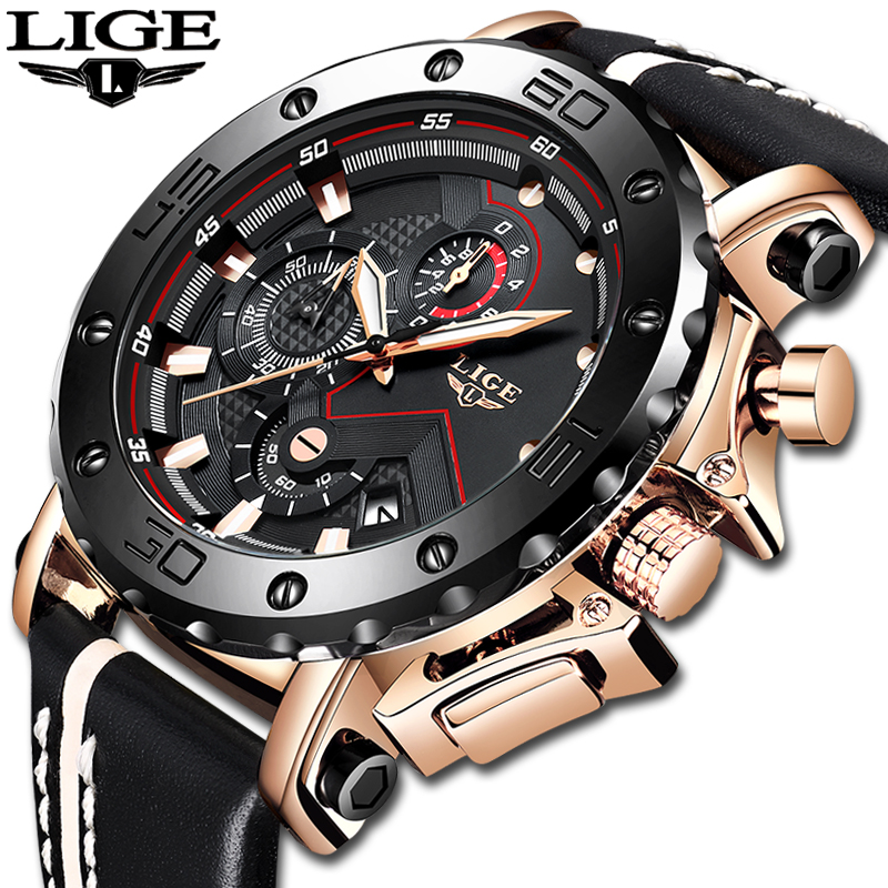 2020LIGE New Fashion Mens Watches Top Brand Luxury Big Dial Military Quartz Watch Leather Waterproof Sport Chronograph Watch Men 1