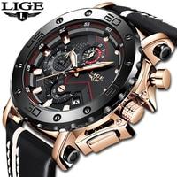 2020LIGE nowe mody mężczyzna zegarki Top marka luksusowe duże Dial wojskowy kwarcowy zegarek skórzany wodoodporny Sport chronograf mężczyźni