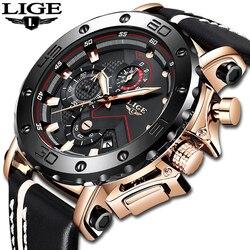 Часы LIGE мужские, армейские, спортивные, с большим циферблатом, кварцевые, водонепроницаемые, с кожаным ремешком