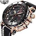 2019 LIGE Neue Mode Herren Uhren Top-marke Luxus Große Zifferblatt Militär Quarzuhr Leder Wasserdichte Sport Chronograph Uhr Männer