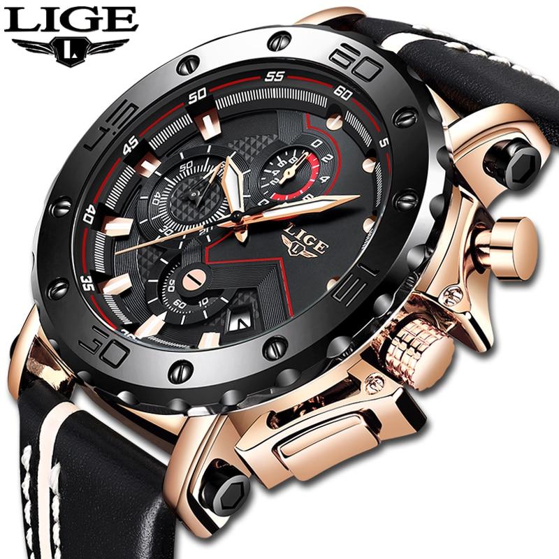 2019 lige nova moda dos homens relógios marca superior luxo grande dial militar relógio de quartzo couro à prova dwaterproof água esporte cronógrafo relógio masculino