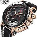 2020LIGE yeni moda erkek saatler Top marka lüks büyük arama askeri quartz saat deri su geçirmez spor kronograf saat erkekler