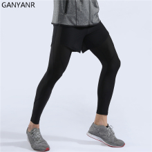 GANYANR Running Tights Men Yoga Basketball Sports Leggings Fitness Compression Pants Gym Athletic Bodybuilding Training Jogging