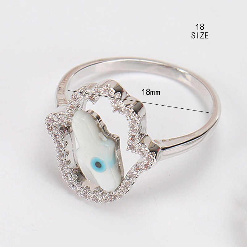 Lucky Eye แหวนคริสตัล Zircon CZ แหวนหมั้นแหวน Hamsa มือผู้หญิงผู้ชายเงิน - สี Evil Eye เครื่องประดับ EY4679