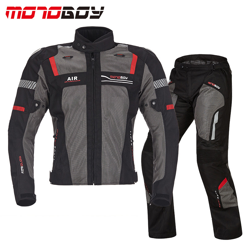 MOTOBOY Men's Motorcycle breathable jackets racing pants Motocross Dirt Bike Riding jacket Jersey CE Protective Gears Suits стоимость