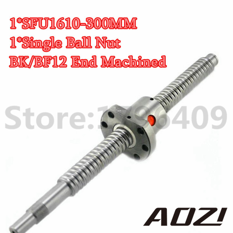 16mm SFU1610 Ball Screw Rolled Ballscrew 1pc SFU1610 300mm With 1pc 1605 Ballnut CNC Parts With Standard End Machined ballscrew sfu1610 l200mm ball screws with ballnut diameter 16mm lead 10mm
