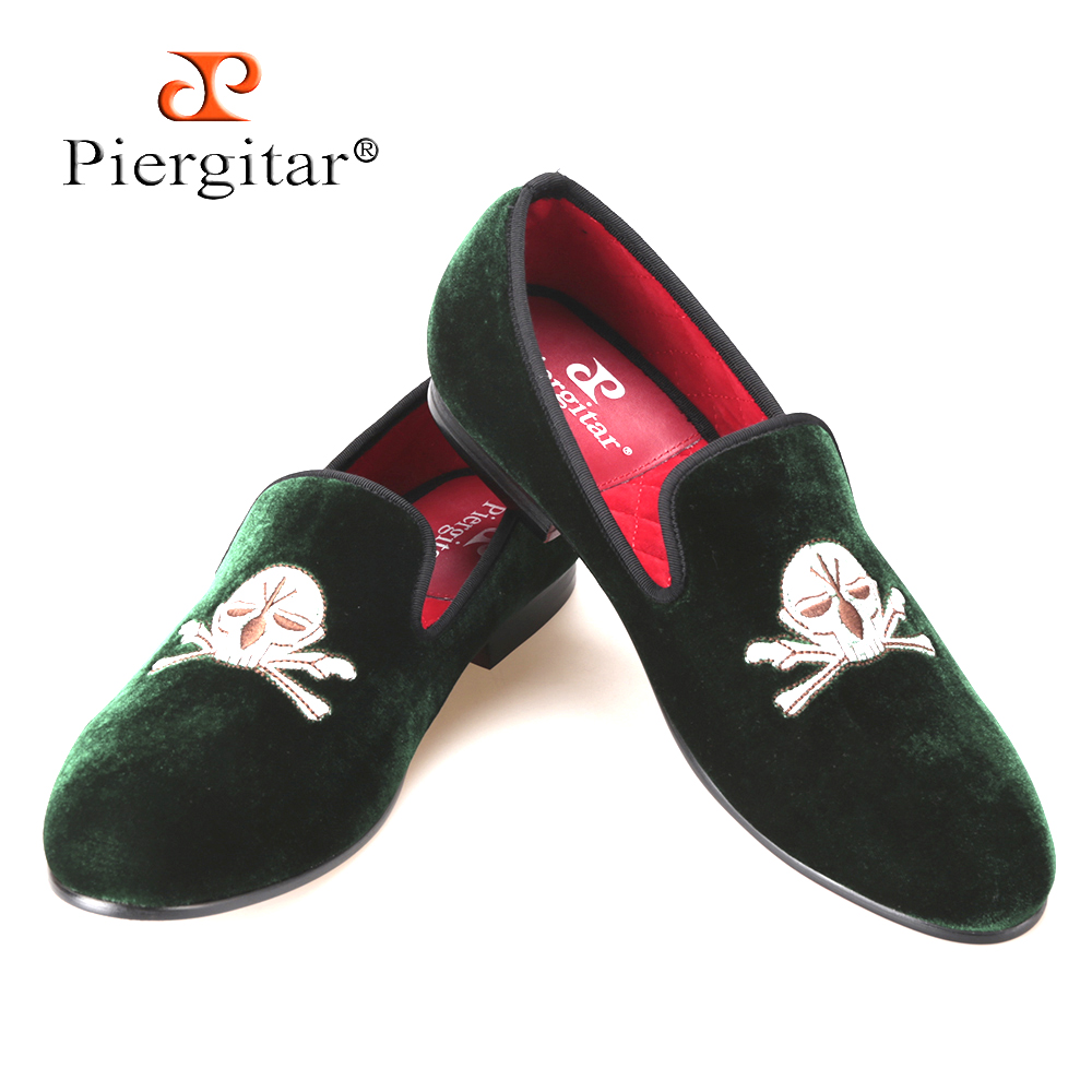 2015 Hot Sale Men Velvet Slippers Embroidered Loafers Shoes with Skull-face Pattern Men Party and Wedding shoe US Size 6-14 men casual shoes green velvet loafers prince albert slippers handmade embroidered footwear