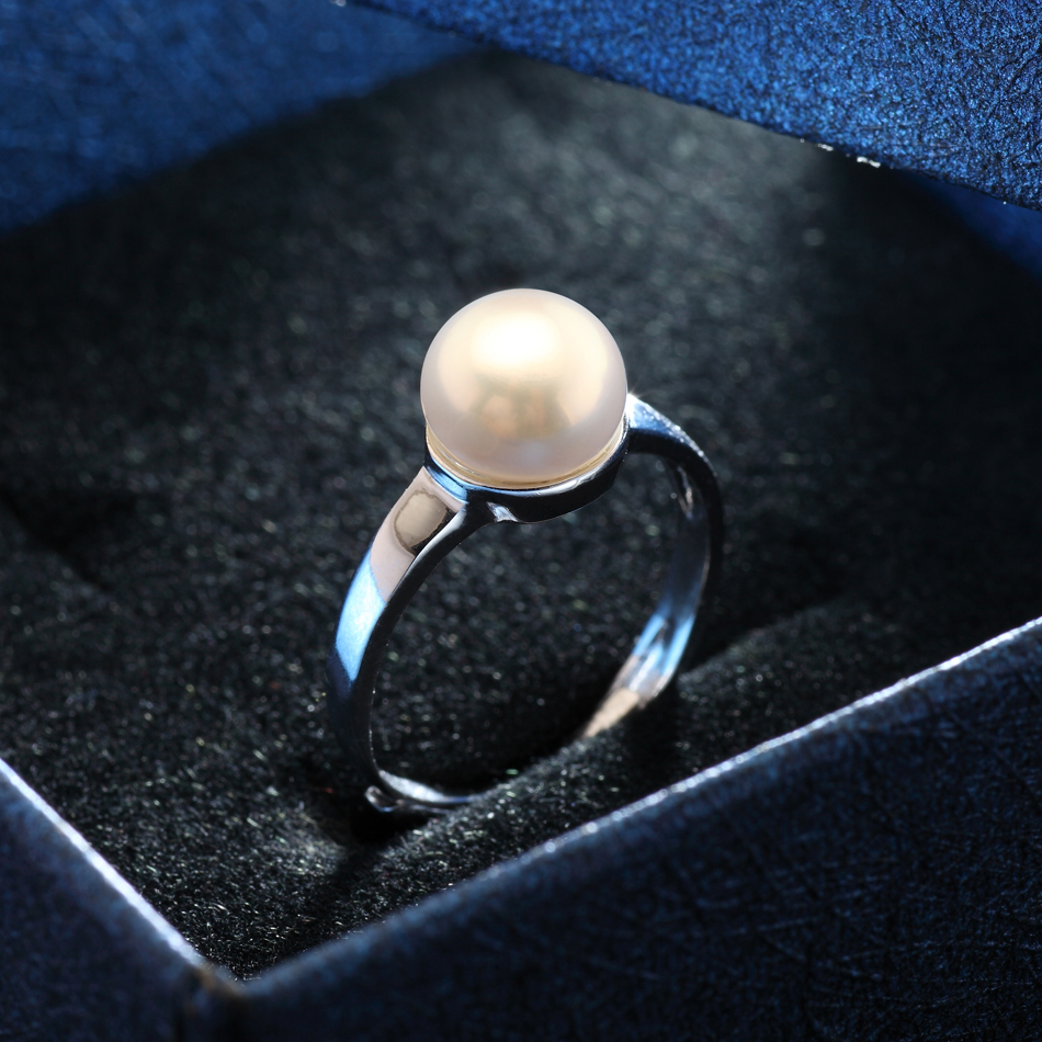 Fine Jewelry 925 Sterling Silver Pearl Ring for Women Engagement Jewelry Gifts 8 9MM White Freshwater Pearl Dropshipping FEIGE in Rings from Jewelry Accessories