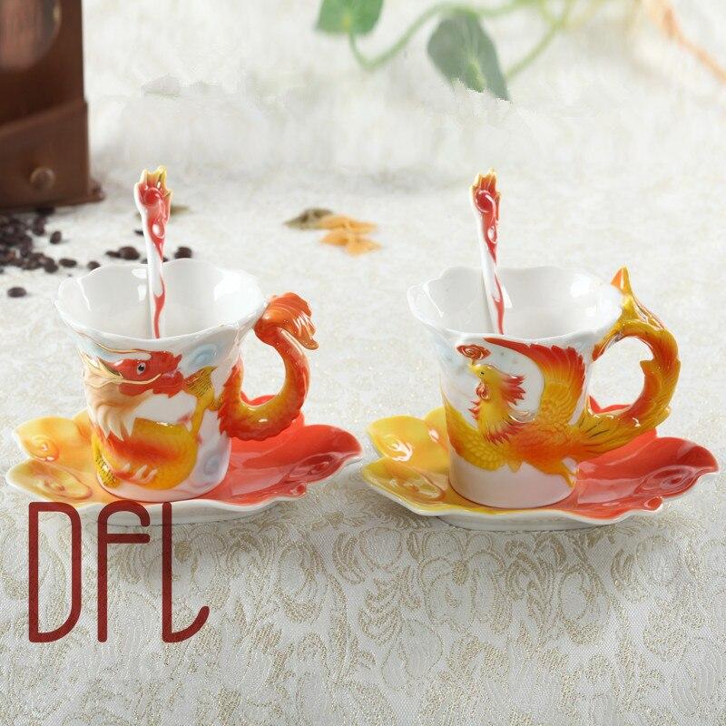 Emalj drake och Phoenix kaffe muggar Procelain koppar och muggar med - Kök, matsal och bar
