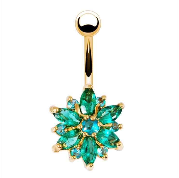 100% Высокое качество, нержавеющая сталь, зеленый, белый, розовый цветок, Кристалл пупка, бар, золото, пупка, кнопка, кольцо, пупок, пирсинг, ювелирный подарок