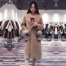 Ptslan Women Alpca Sheep Fur Coat Fashion Women Wool Coat Fox fur sleeve Long Sheep fur