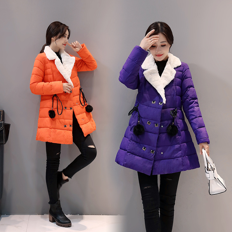 Pregnant women 's jacket winter new style cotton double - breasted Slim long section cotton coats 2016 new warm winter coats for women european high end slim belt long double breasted lapel women s long down jacket winter