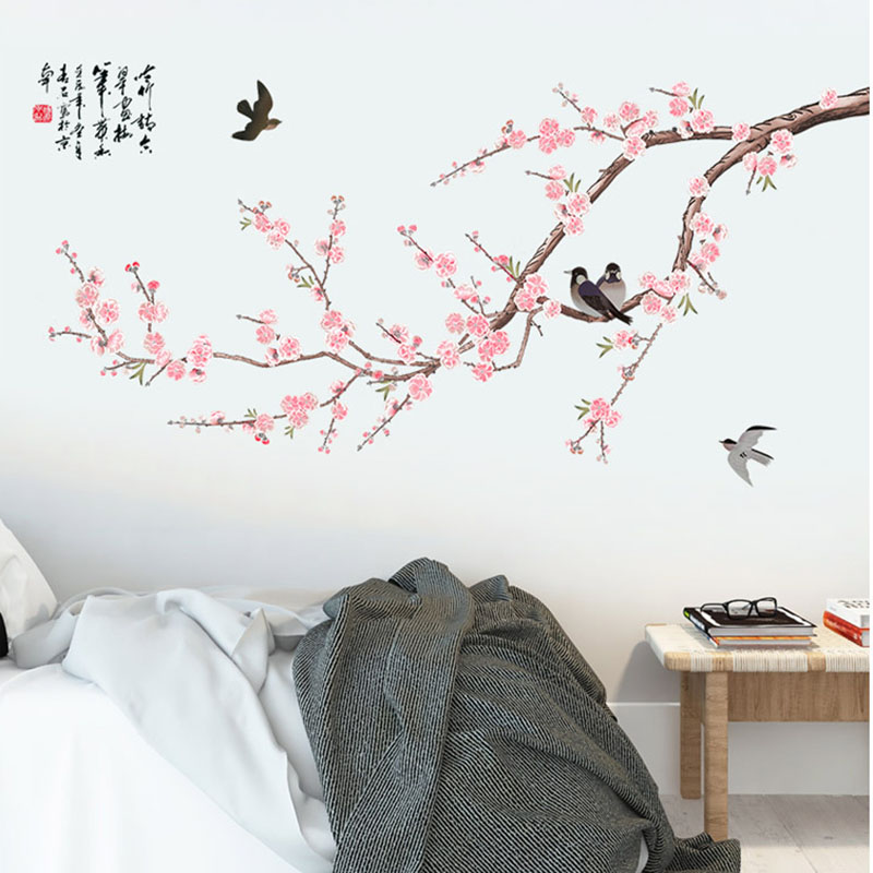 Two Magpies on Pink Plum Blossom Tree Branch Wall Stickers Home Decor Living Room Bedroom Hallway Decoration Wall Graphic Poster
