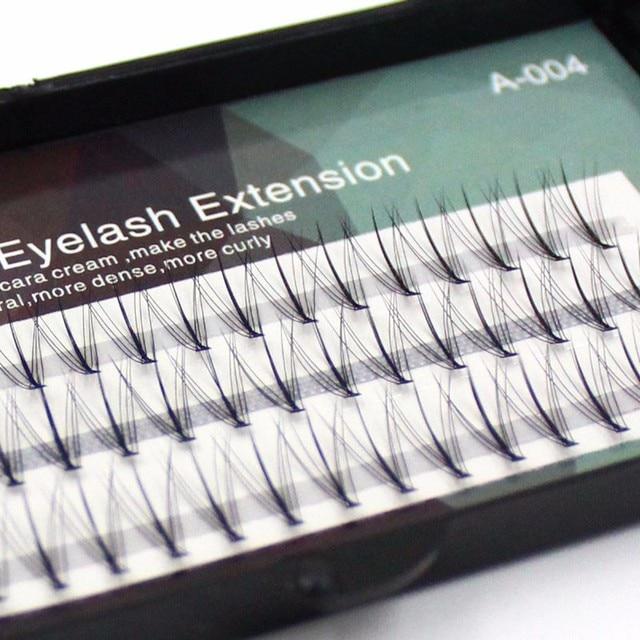 60 Pcs Tray Central Dense Faux Mink Eyelashes Individual Silk