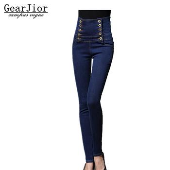 2017 nowa gorąca sprzedaż kobiet wiosna jesień Plus rozmiar wysoka talia Denim Jeans kobiety zima w stylu vintage podwójne piersi ołówek spodnie s-6XL tanie i dobre opinie WOMEN rurki guzik HIGH skinny elegancki Zmiękczona COTTON GearJior Pełna długość light DTY321 blue Twill Midweight