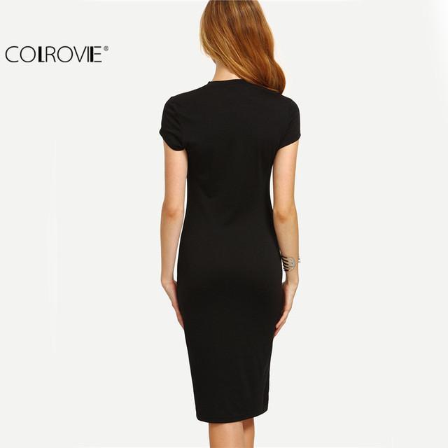 COLROVIE Women's Work Wear Sheath Dresses Sexy Newest Solid Black Cap Sleeve Crew Neck Knee Length Bodycon Dress
