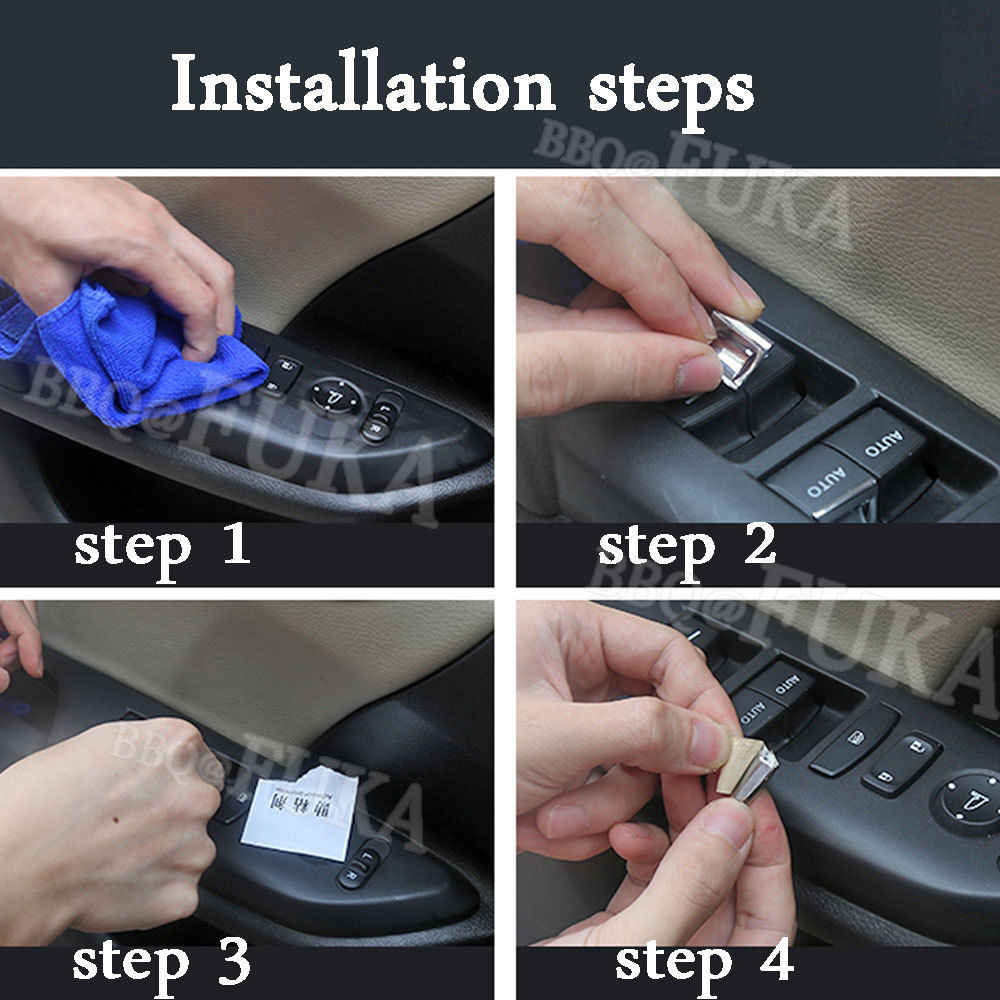 7pc Inner Window Switch Button sequin Trim Fit For Honda Civic 10th 2016 2017 ut