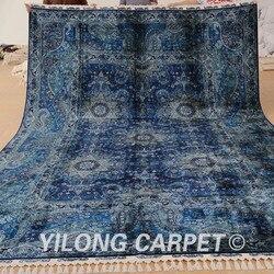 Yilong 8.5 'x12' antieke handgemaakte oosterse tapijt donkerblauw Turkse tapijt (1660)