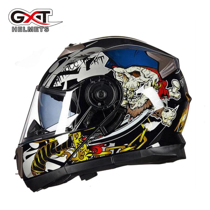 2017 Winter New GXT Flip up motorcycle helmet Double lens G-160 undrape face motorbike helmets made of ABS and PC Visor lens