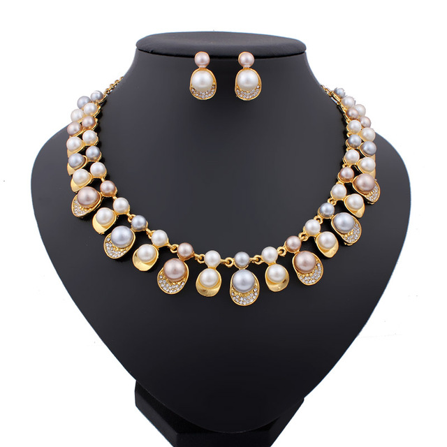 2015 New Fashion Imitation Pearl Necklace 18K Dubai Gold Plated African Beads Costume Acessories Bridal wedding Jewelry Sets