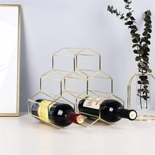 Metal Red Wine Rack 6 Bottle Holder Mount Bar Display Shelf Creative Geometric Wine Rack Alcohol Neer Care Drink Bottle Holders недорого