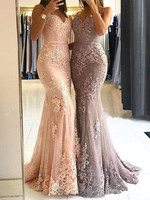 Glamorous Sweetheart Spaghetti Straps Mermaid Evening Dresses Elegant Lace Appliques Special Prom Party Dresses Formal Dresses