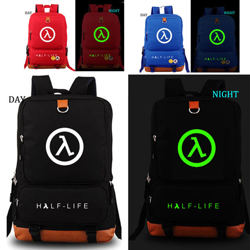 HALF LIFE school bag noctilucous backpack student school bag Notebook backpack Daily backpack black nylon backpack half life backpacks game fans daily use big backpack school bag for student nb135