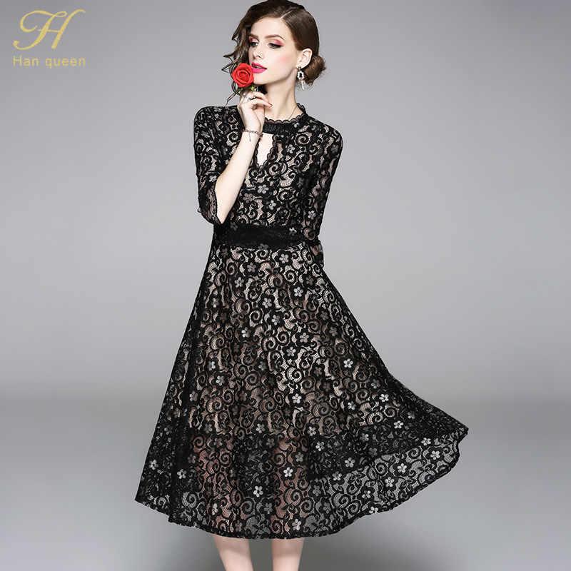 H Han queen 2018 осеннее кружевное платье для работы, повседневное, тонкое, для работы, для женщин, для вечеринок, сексуальное, открытое, ТРАПЕЦИЕВИДНОЕ, винтажное, черное, Vestidos