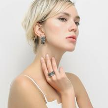 Nandudu Retro Silver Color Rings for Women Vintage Ring Earrings Jewelry Sets Female Wide Cocktail Party Jewelry R1996 CE348